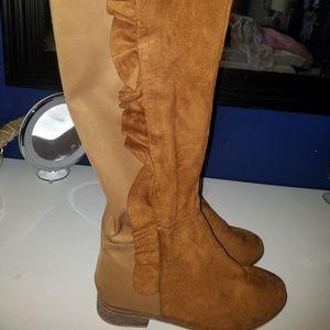 Shoes - Knee high velvet ruffle boots